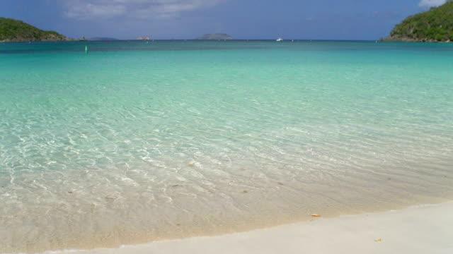 slow motion video of Gibney Beach, Hawksnest Bay, St.John, USVI video