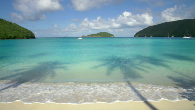 rallentatore video di maho bay beach, st.john, isole vergini americane - saint martin caraibi video stock e b–roll