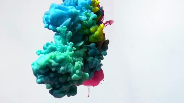 Slow motion video of red, pink, blue and yellow watercolor inks spin beautifully in water. Slow motion video of red, pink, blue and yellow watercolor inks spin beautifully in water. Powerful explosion of paints on a white background. The smooth movement of acrylic ink in water. Amazing screensaver and modern abstract trending background. abstract watercolour stock videos & royalty-free footage