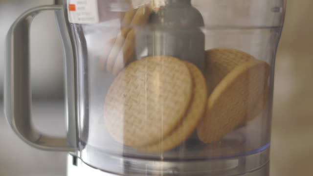 slow motion view of blending digestive biscuit video