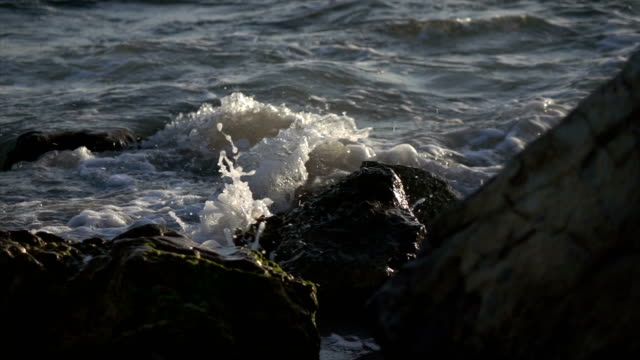 Slow Motion Waves at Sunset on Beach video