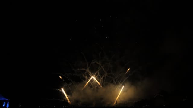 Slow motion white and red fireworks show video