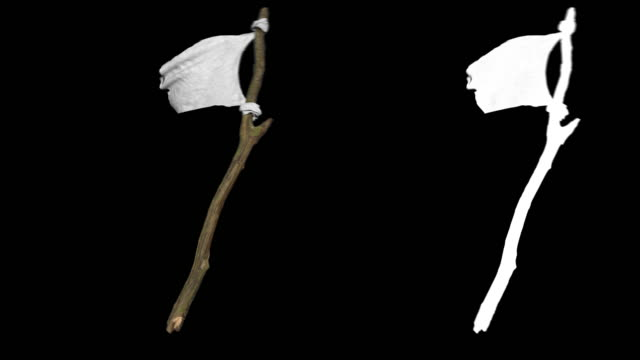 slow motion white flag  waving on black background with alpha channel - molla video stock e b–roll