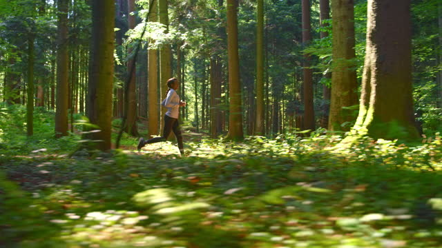 SLO MO TS African-American female runner running through the sunny forest