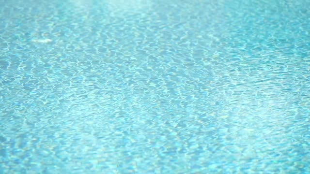 slow motion wind blow surface water of swimming pool wave