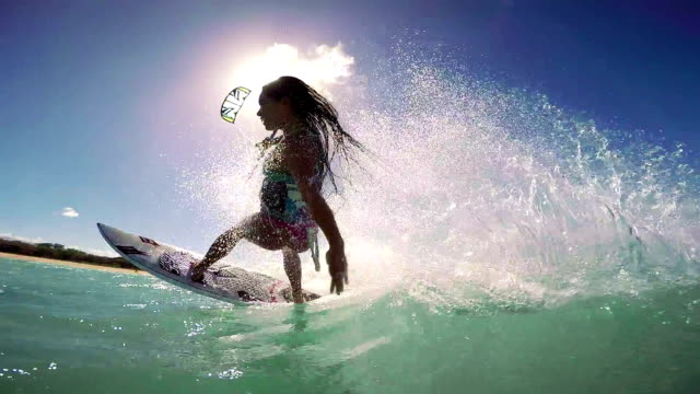 Video Slow Motion Woman Kite Surfing, Extreme Sport