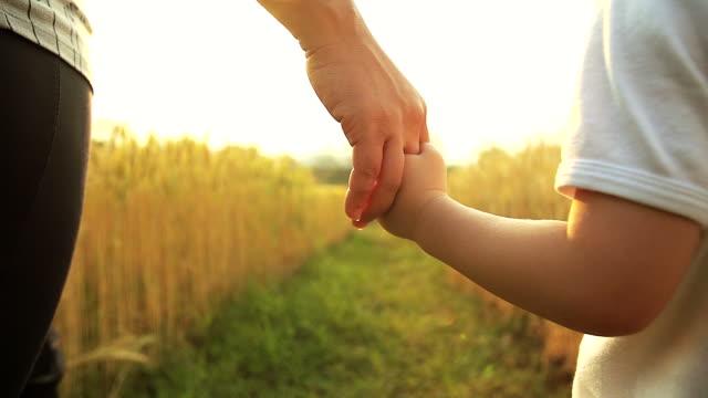 hd al rallentatore: ragazzino e sua madre tenendo le mani e piedi in un campo di grano dorato. - fiducia video stock e b–roll