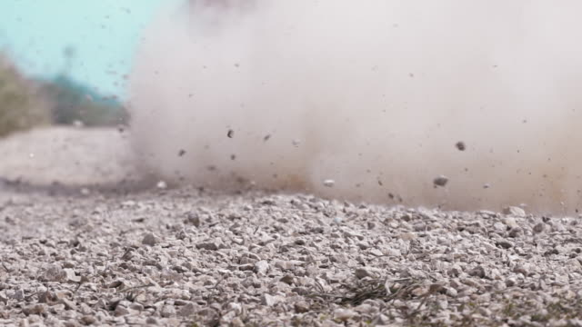 Slow motion,rally race car drifting on dirt track