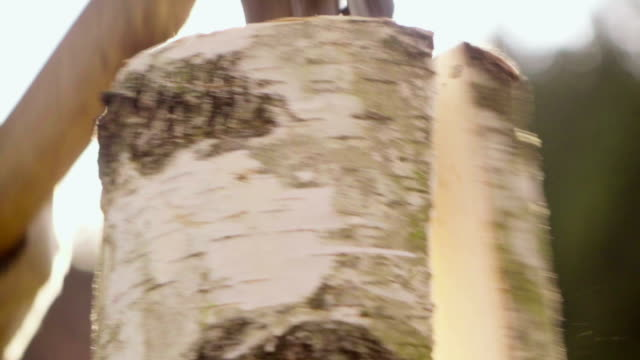 Slow motion:Splitting Wood With An Axe with sun background video