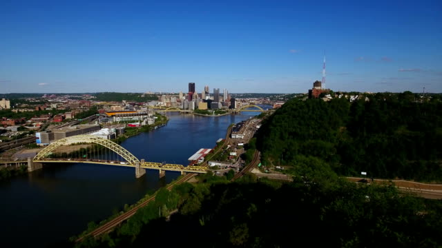 Slow Moving Reverse Aerial View of Pittsburgh from West End Overlook video