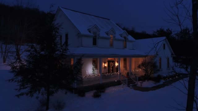 Slow Push Forward Aerial Christmas Farmhouse video