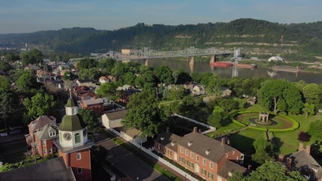 Slow Push Forward Aerial Establishing Shot of Small New England Village video
