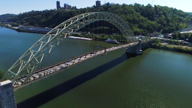 Slow Rising Aerial Establishing Shot of West End Bridge Over Ohio River video