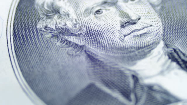 Slow Rotating Thomas Jefferson Face on Two Dollar Bill video