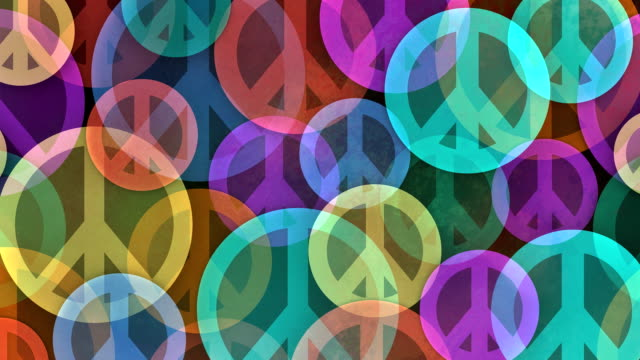 Slow Scrolling Background Made from Peace Symbols video