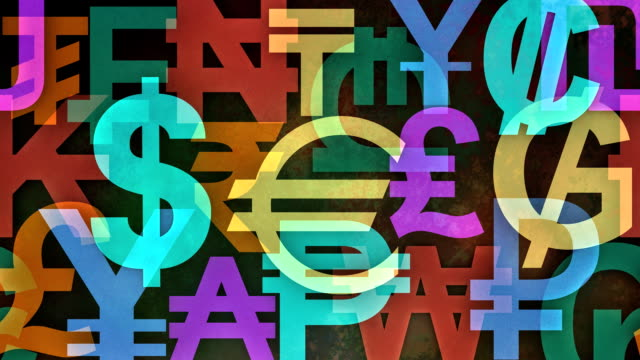 Slow Scrolling Colorful Background Made from Worldwide Currency symbols video