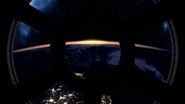 Slow sunrise seen from ISS Slow sunrise over Earth seen from International Space Station side lit stock videos & royalty-free footage