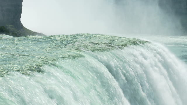 slow water falling over niagara video