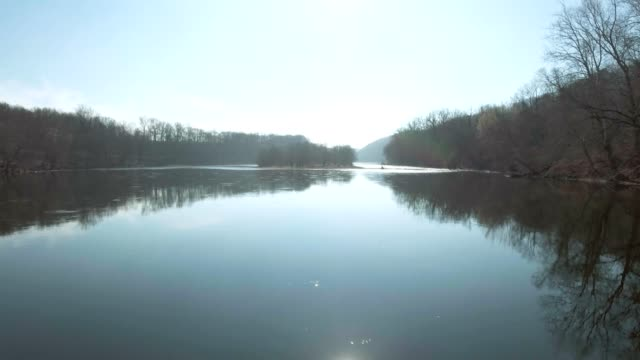 Slow water flowing down river video