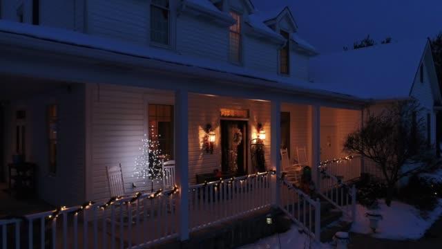 Slow Zoom Out Pennsylvania Farmhouse at Christmas at Night