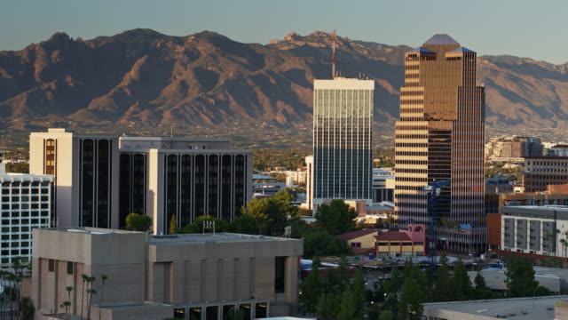 Slowly Descending Drone Shot of Downtown Tucson at Dusk