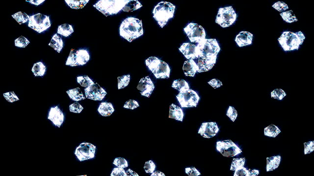 Slowly falling shine diamonds, on black . video
