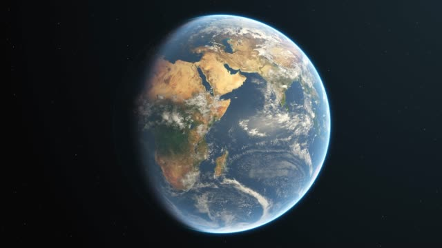 slowly rotating realistic earth from space loop - world map stock videos & royalty-free footage