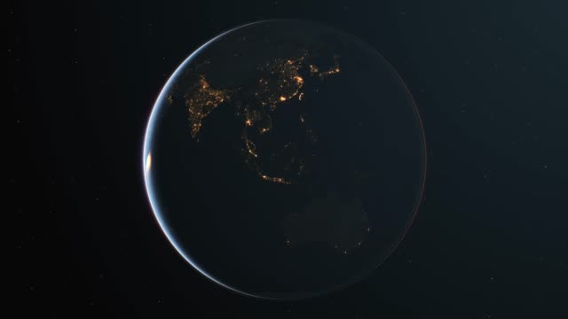 Slowly rotating realistic night earth from space - loop