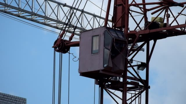 Slowly turning cab of an old tower crane video