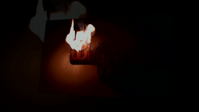 Slow-match is lit on a black background/Fuse burning video