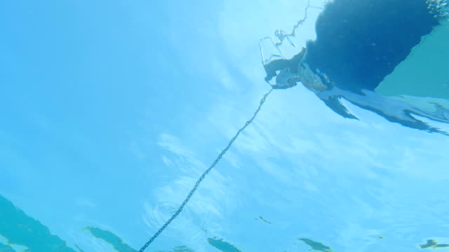 HD Slow-Mo: Underwater Docked Yacht Silhouette video