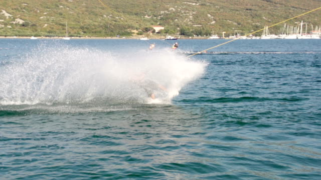 Slow-Mo: Wakeboarder Carving And Making A Splash video