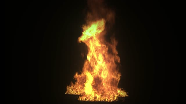 Slow-motion isolated fire on black screen Real fire flame vfx element. Campfire. Burning fire isolated on black background. Clean Flames Burning. flashlight stock videos & royalty-free footage