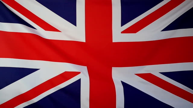 Slowmotion real textile Flag of United Kingdom video