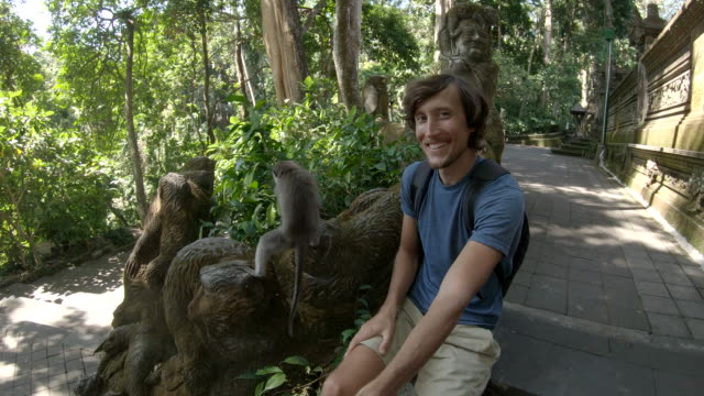 Slowmotion shot of a young man feeding and making a selfie with a macaque monkey in Monkey forest nature park in Ubud village, Bali