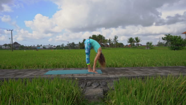 slowmotion steadicam shot of a young woman with yoga math walking through a beautiful rice field - mudra video stock e b–roll