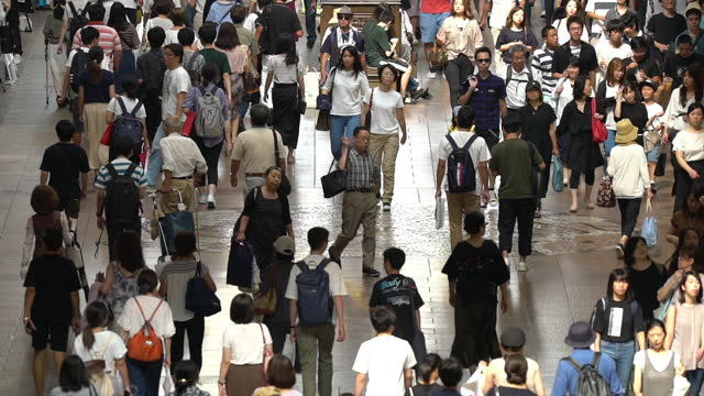 Slowmotion: top view Tourist pedestrian crowded at Motomachi Shopping street Kobe Japan