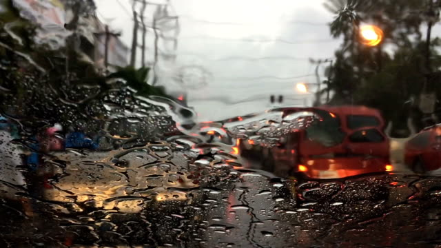 slow-motion, traffic jam in the rainy day