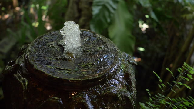 Slow-motion, water jar fountain in green garden