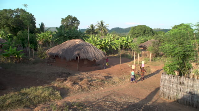 small african village high angle - capanna video stock e b–roll