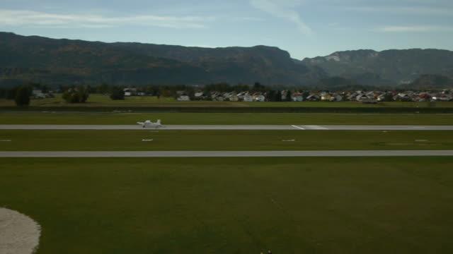 Small airplane takes off from runaway video