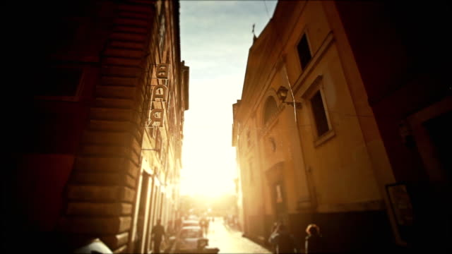Small Alley in the Center of Rome with Bar sign video