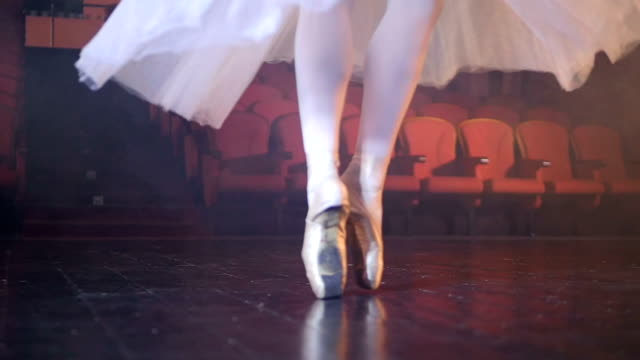 Small ballerinas feet dancing in satin shoes. video
