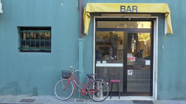 Small Bar Facade With Bicycle