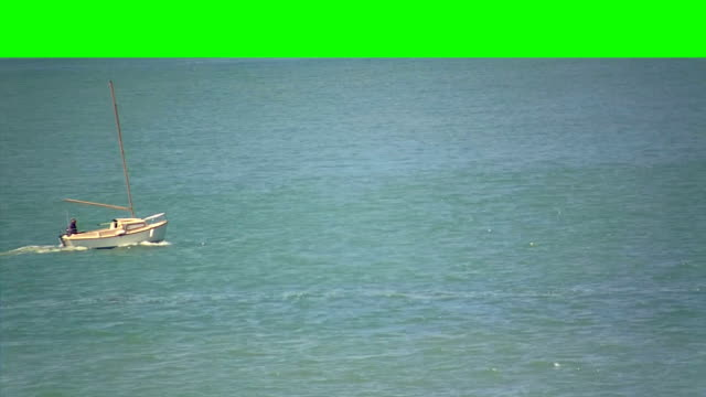 Small Boat in the Sea on a Green Screen Background video