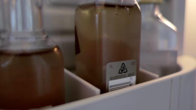 små flaskor av alkoholhaltiga drycker i hotel minibar - liten bildbanksvideor och videomaterial från bakom kulisserna