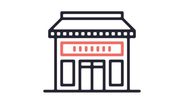vídeos de stock e filmes b-roll de small business owner line icon animation with alpha - shop icon
