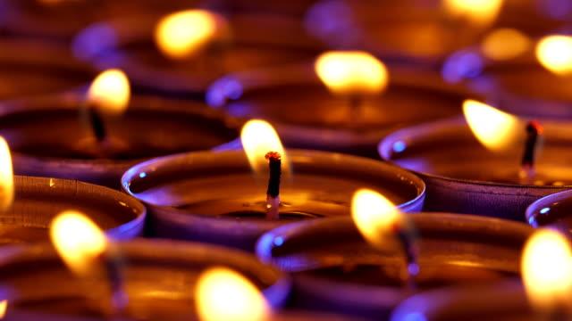 Small candles. Close-up shot. video