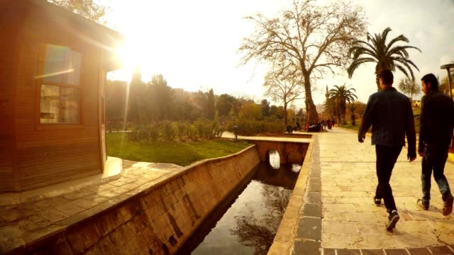 Small Channel near Pool of Sacred Fish Promenade Street Urfa video
