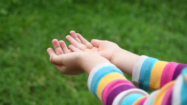 small child hands catch raindrops into palms of hands closeup with green blurred background and copy space - palm of hand stock videos & royalty-free footage